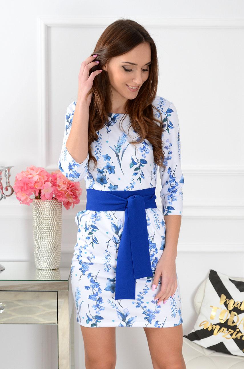 9fa77c6a37 Sukienka z szarfą w kwiaty biała-kobalt Sklep internetowy coc...