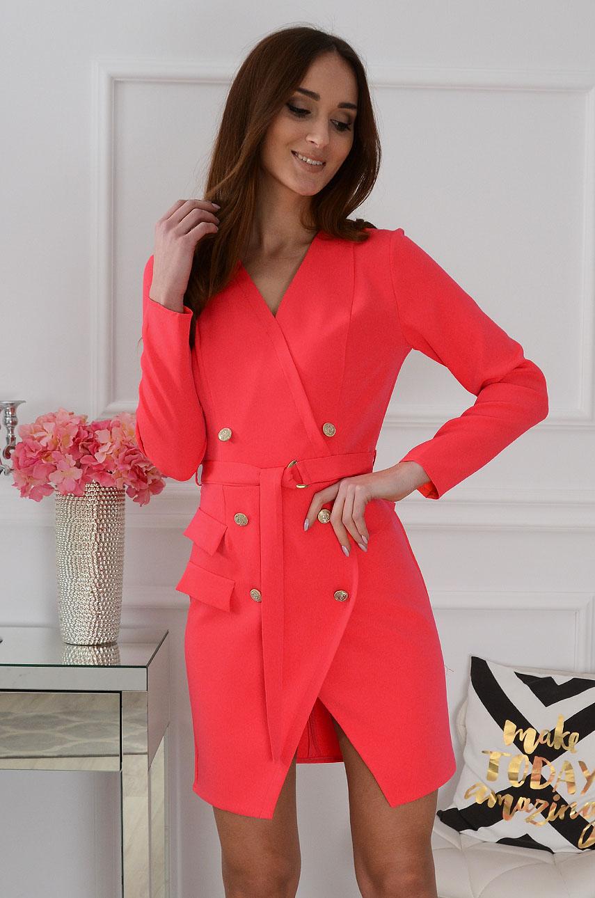 Sukienka Janet dwurzędowa neon koral Rozmiar: M