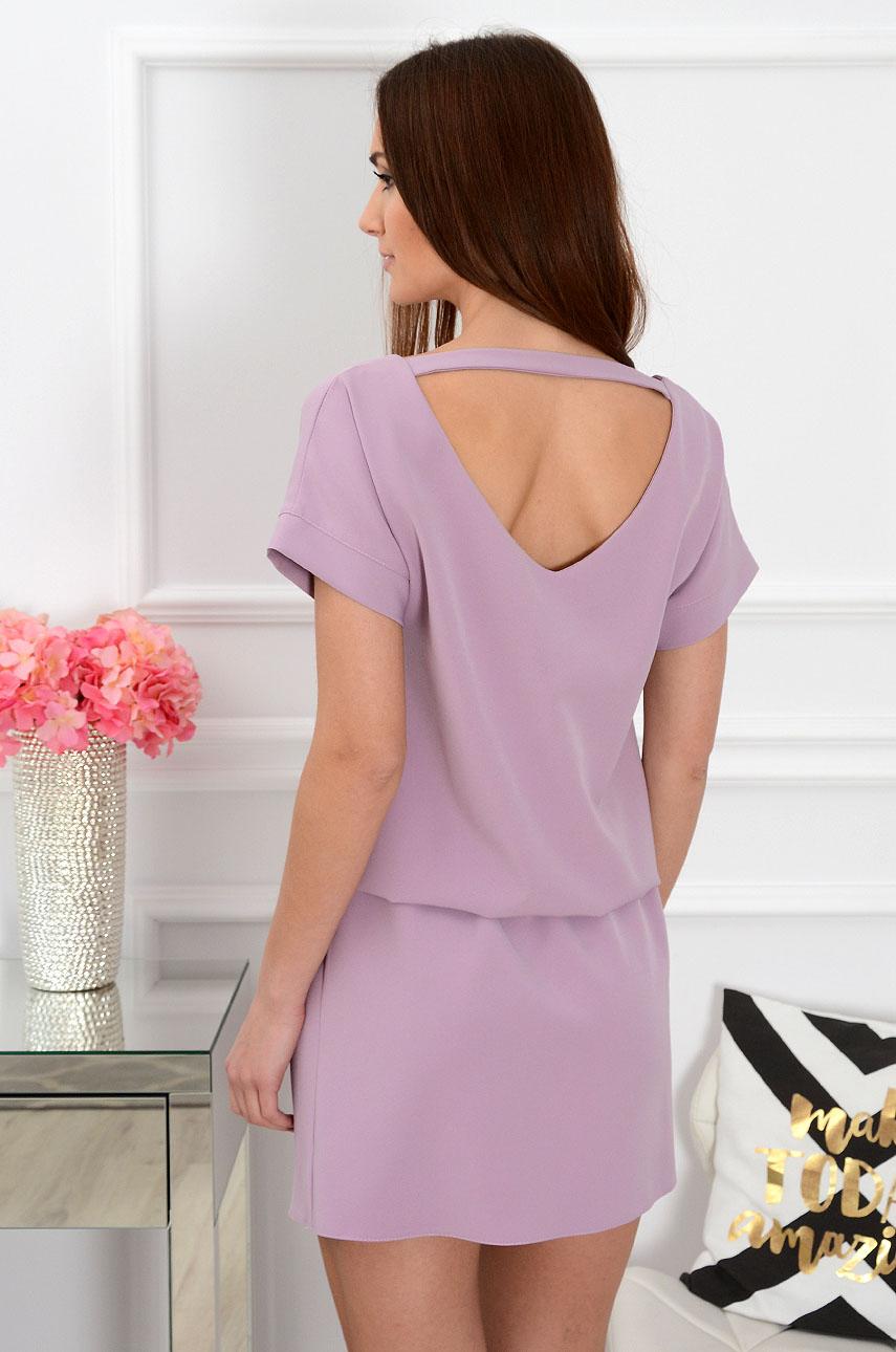 Sukienka dekolt na plecach wrzosowa Lora Rozmiar: S