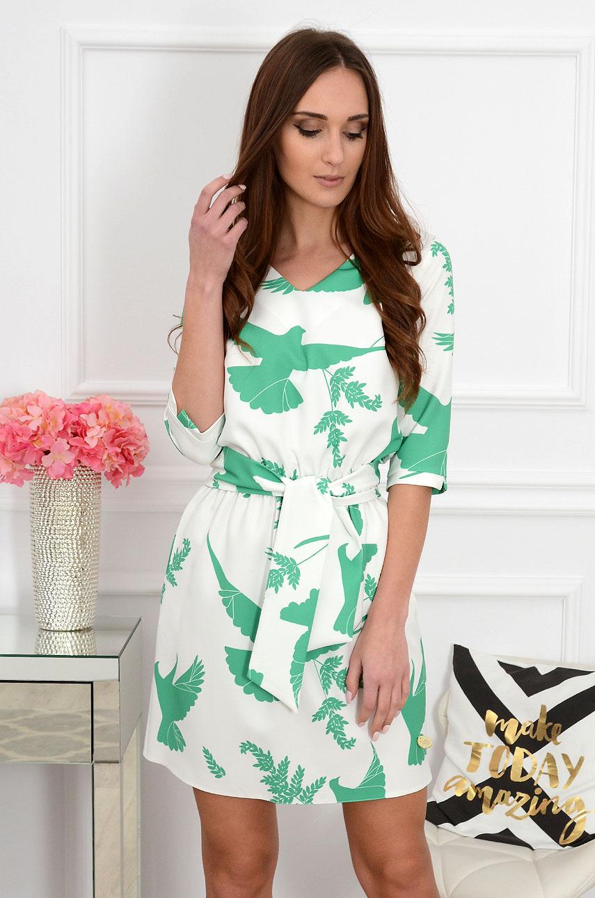 Sukienka Brook z szarfą w zielone ptaki Rozmiar: L