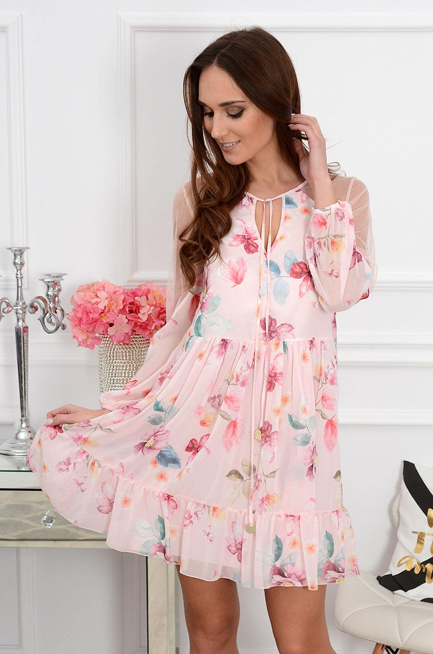 8406930811 Sukienka z siateczką w różowe kwiaty pudrowa Sklep cocomoda.pl