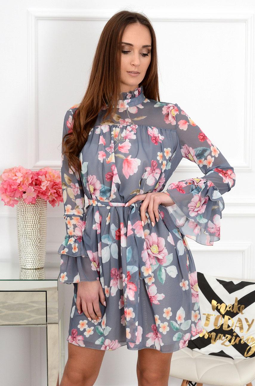 f73dd9b8d9 Sukienka szyfonowa w kwiaty Sense szara - Cocomoda.pl - odzie...