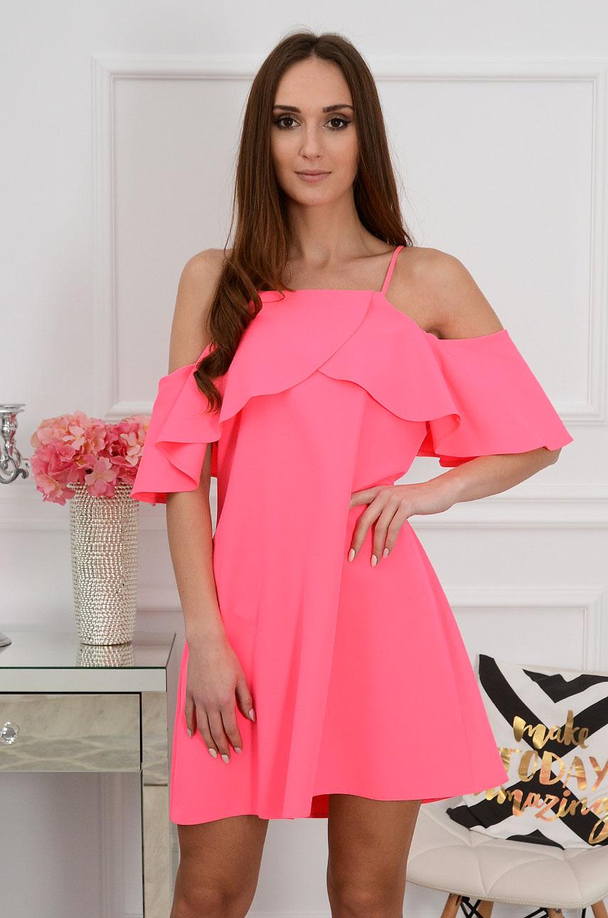 Sukienka z falbaną neonowy róż Nikola Rozmiar: M