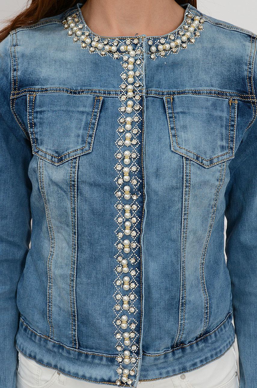 8f2b51b4f5f5af Kurtka jeansowa zdobiona perłami Sklep internetowy cocomoda.pl