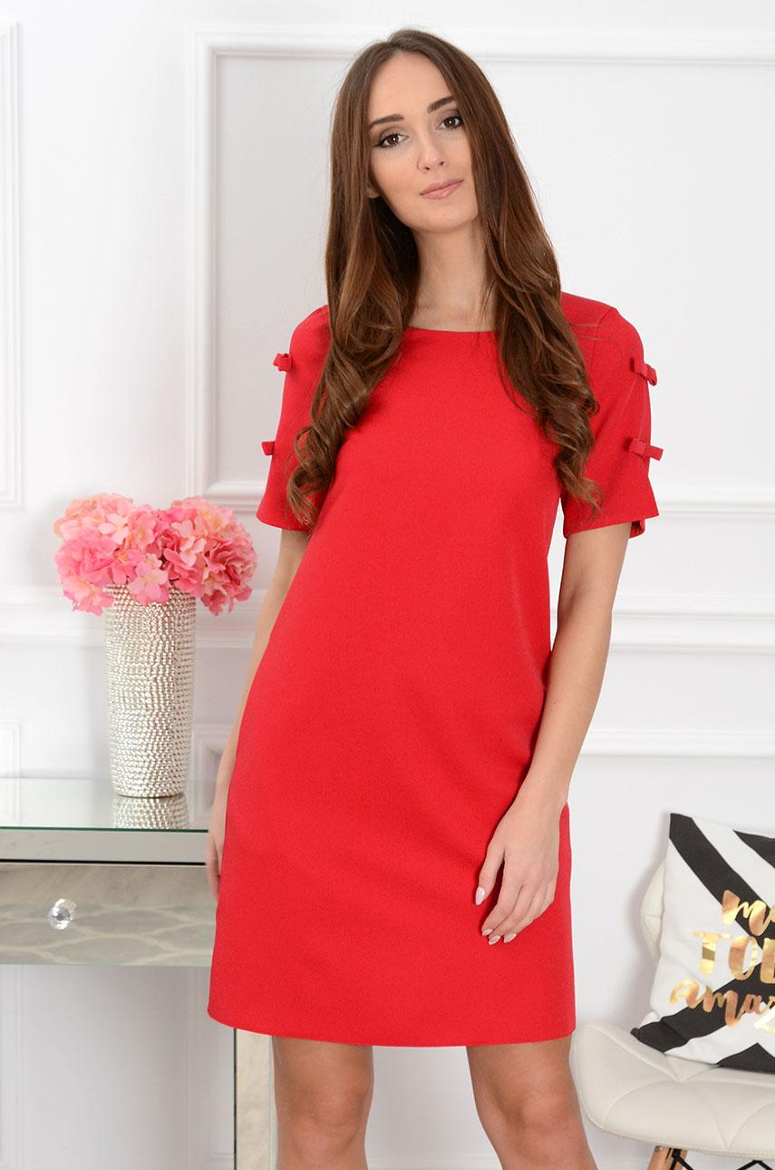 Sukienka trapezowa z kokardkami czerwona Rozmiar: S