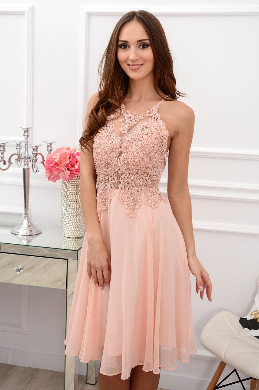 af3a282de8 Sukienka z cyrkoniami pudrowy róż Sklep internetowy cocomoda.pl