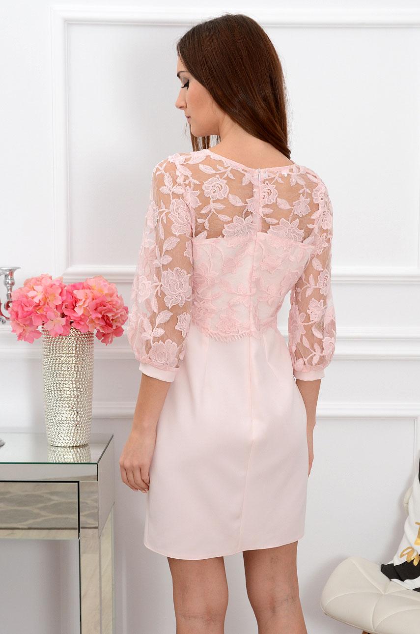 2640d38207 Sukienka z koronkowym bolerkiem pudrowa Sklep internetowy coc...