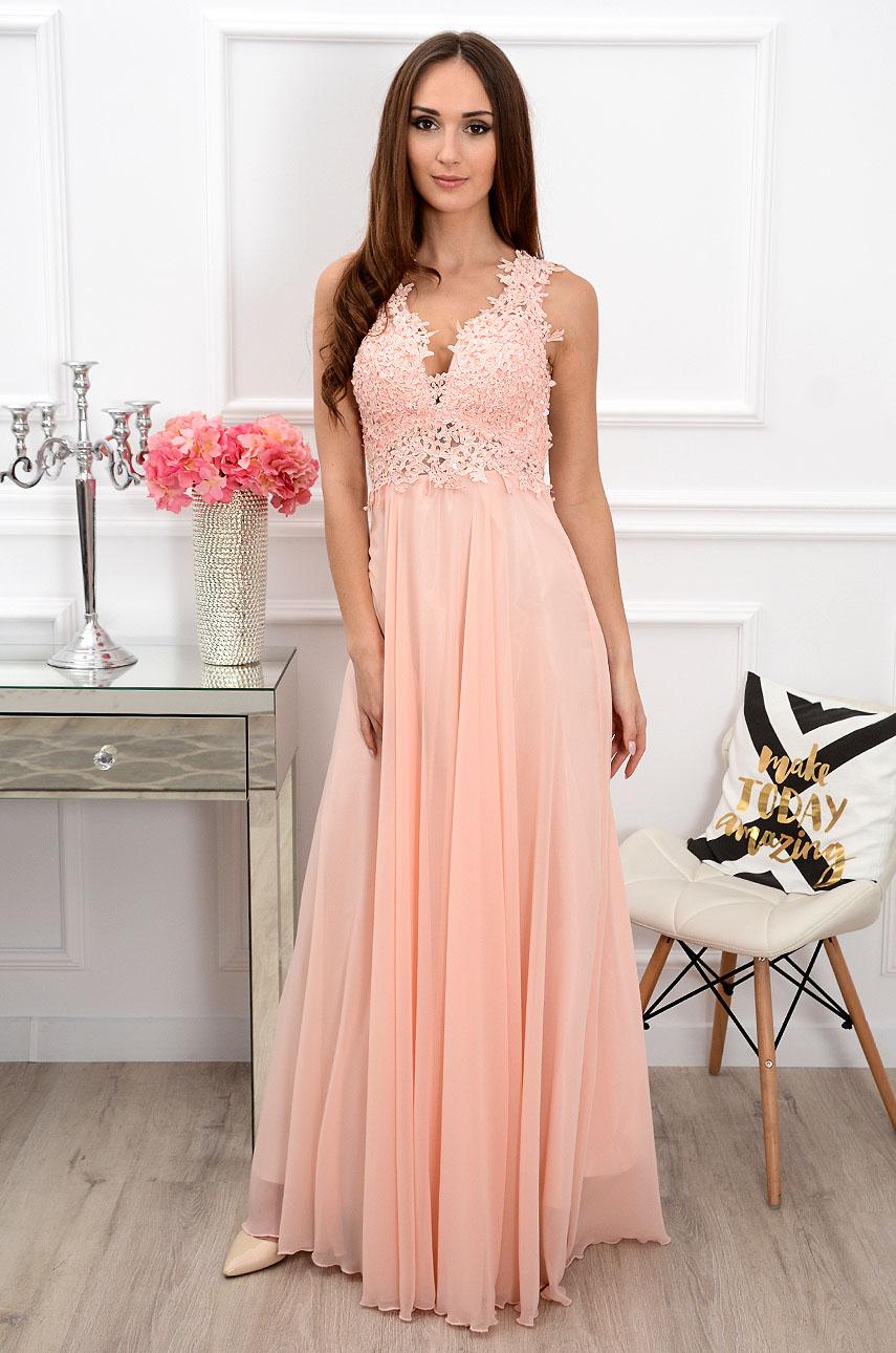 Sukienka maxi Castelia z gipiurą pudrowy róż Rozmiar: S