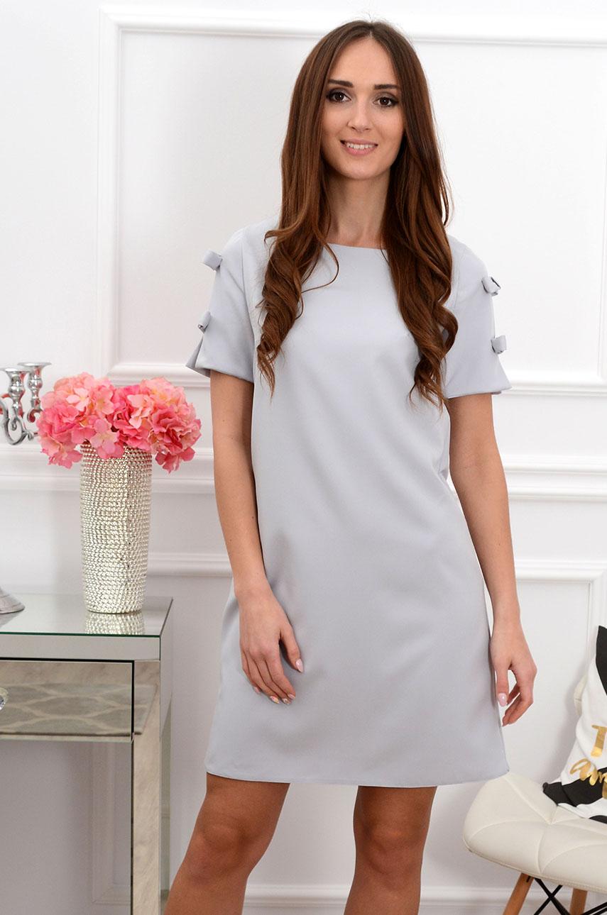 Sukienka trapezowa z kokardkami szara Rozmiar: XL