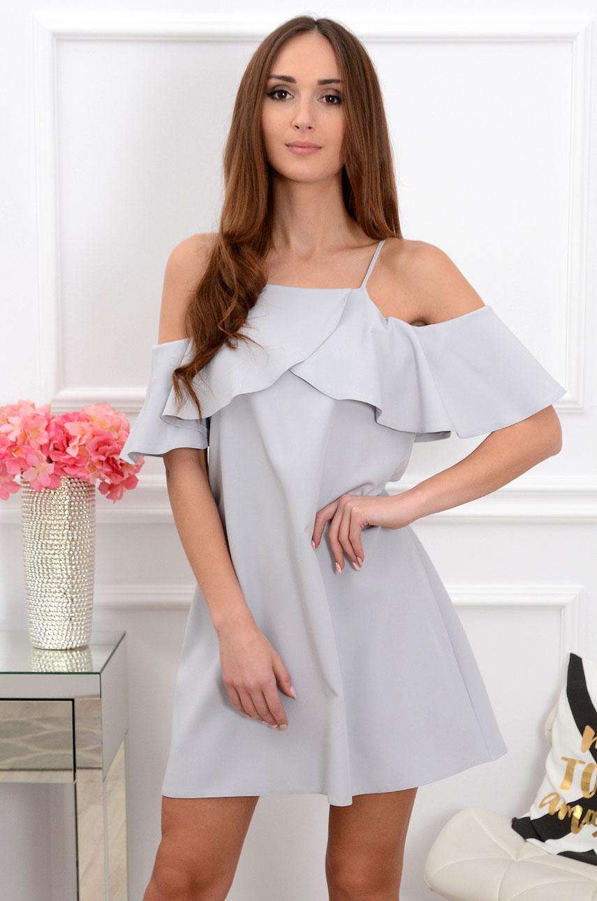 Sukienka Nikola z falbaną szara Rozmiar: M