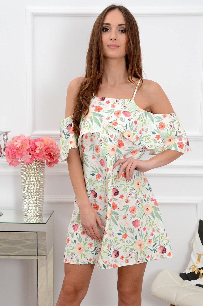 Sukienka Nikola z falbaną w liście i kwiaty Rozmiar: S