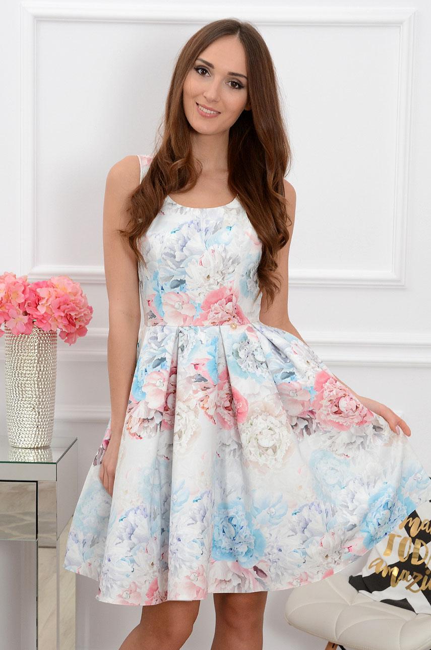 2d170f67de Sukienka midi rozkloszowana w pastelowe kwiaty Sklep cocomoda.pl