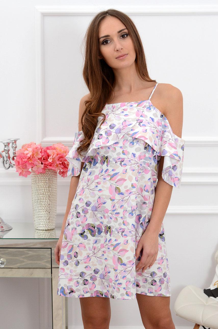 Sukienka Nikola z falbaną w fioletowe liście Rozmiar: M