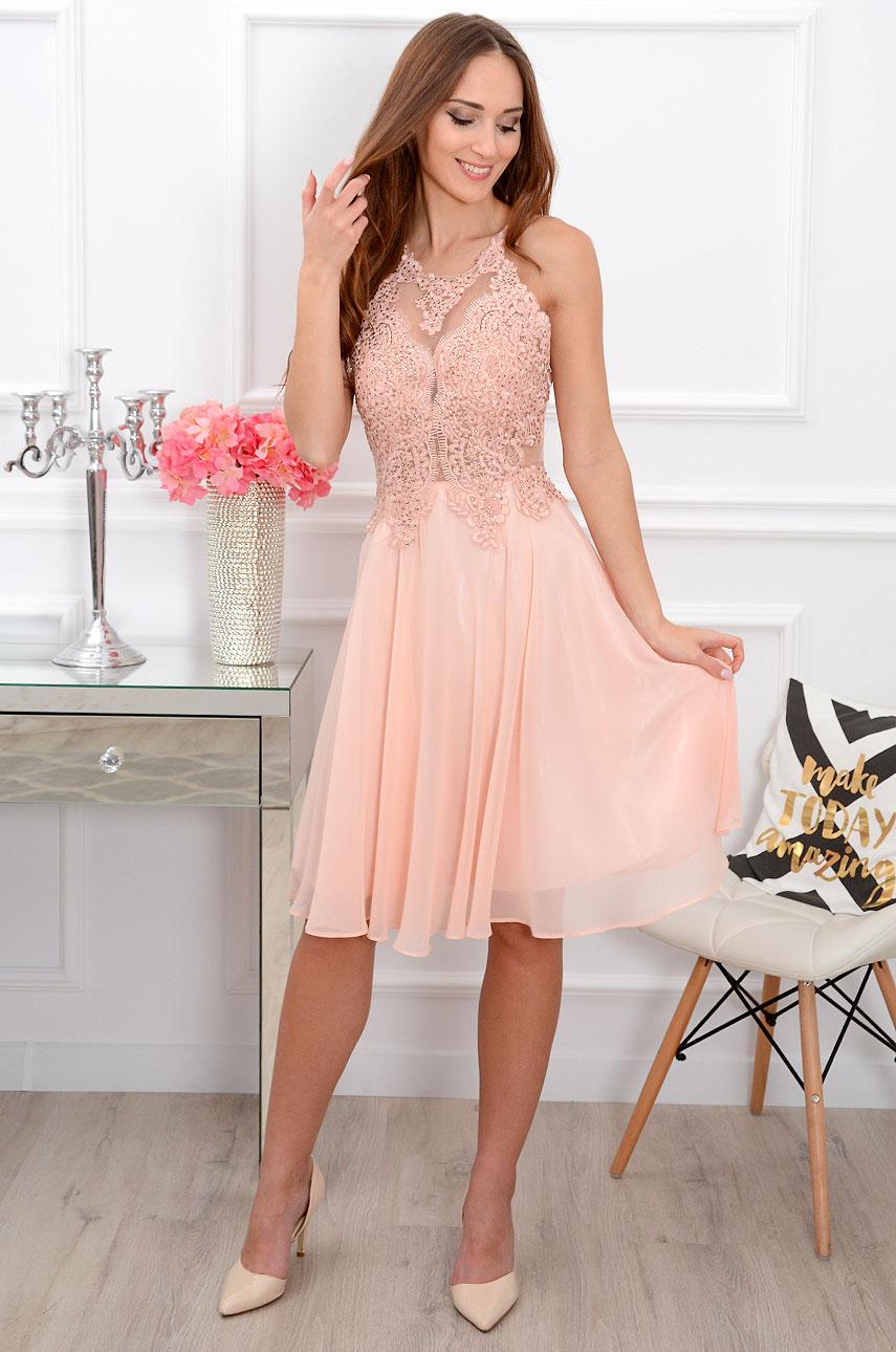 Sukienka Sirene New W Kwiaty Pudrowy Roz
