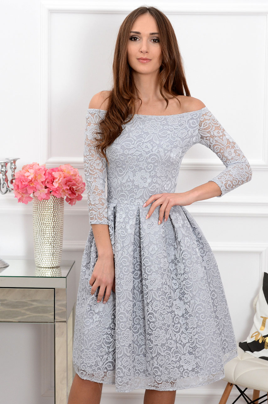 Sukienka koronkowa Scarlet midi szara new 2