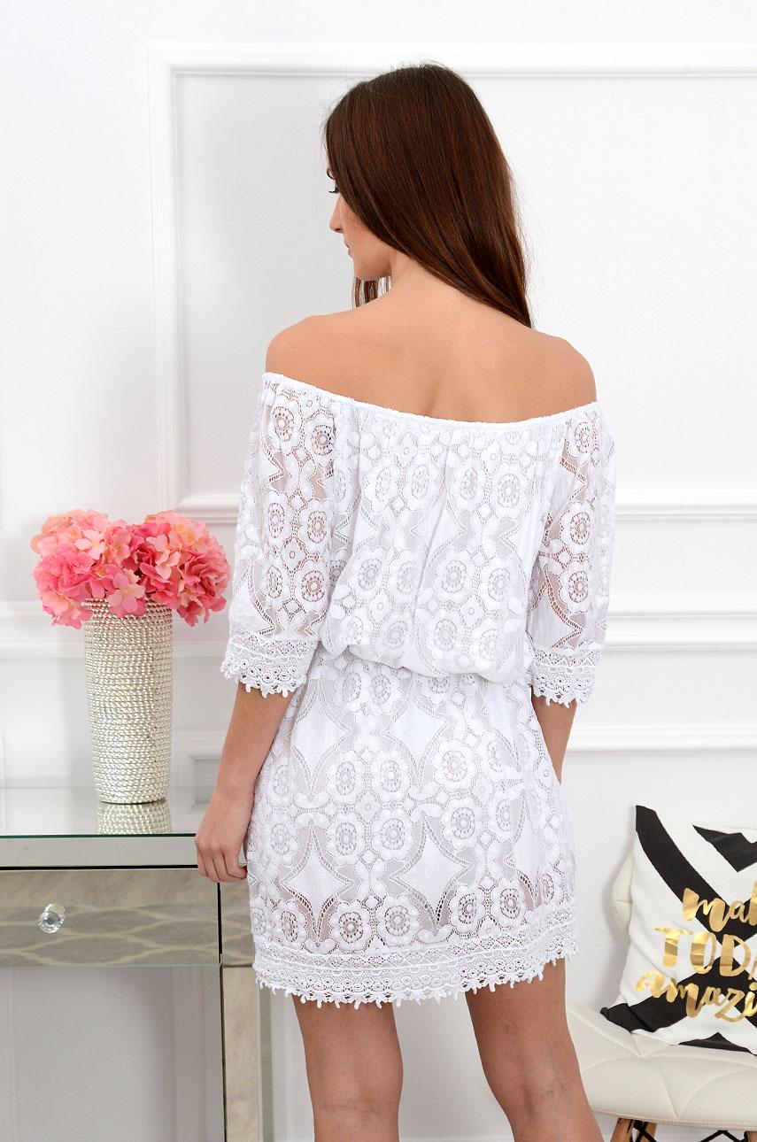 Sukienka hiszpanka koronkowa biała Sklep cocomoda.pl zaprasza