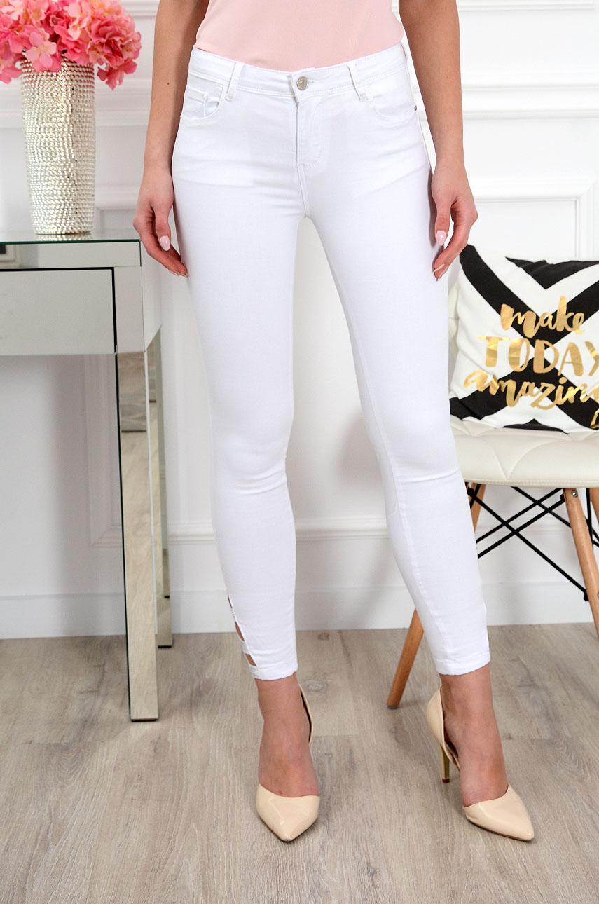 Spodnie jeansowe z wycięciami białe Rozmiar: S