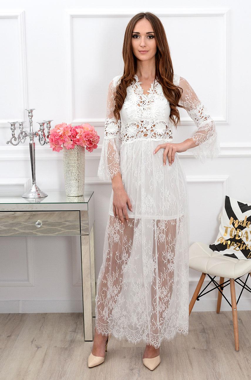 ebe4950f75 Sukienka koronkowa maxi boho biała Sklep cocomoda.pl zaprasza