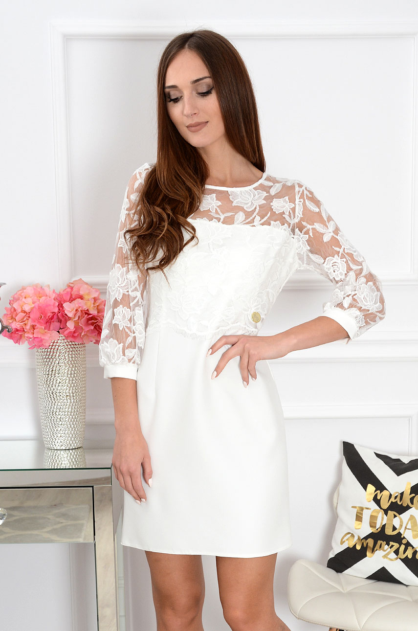 dd8072349a Sukienka z koronkowym bolerkiem biała Sklep cocomoda.pl zaprasza
