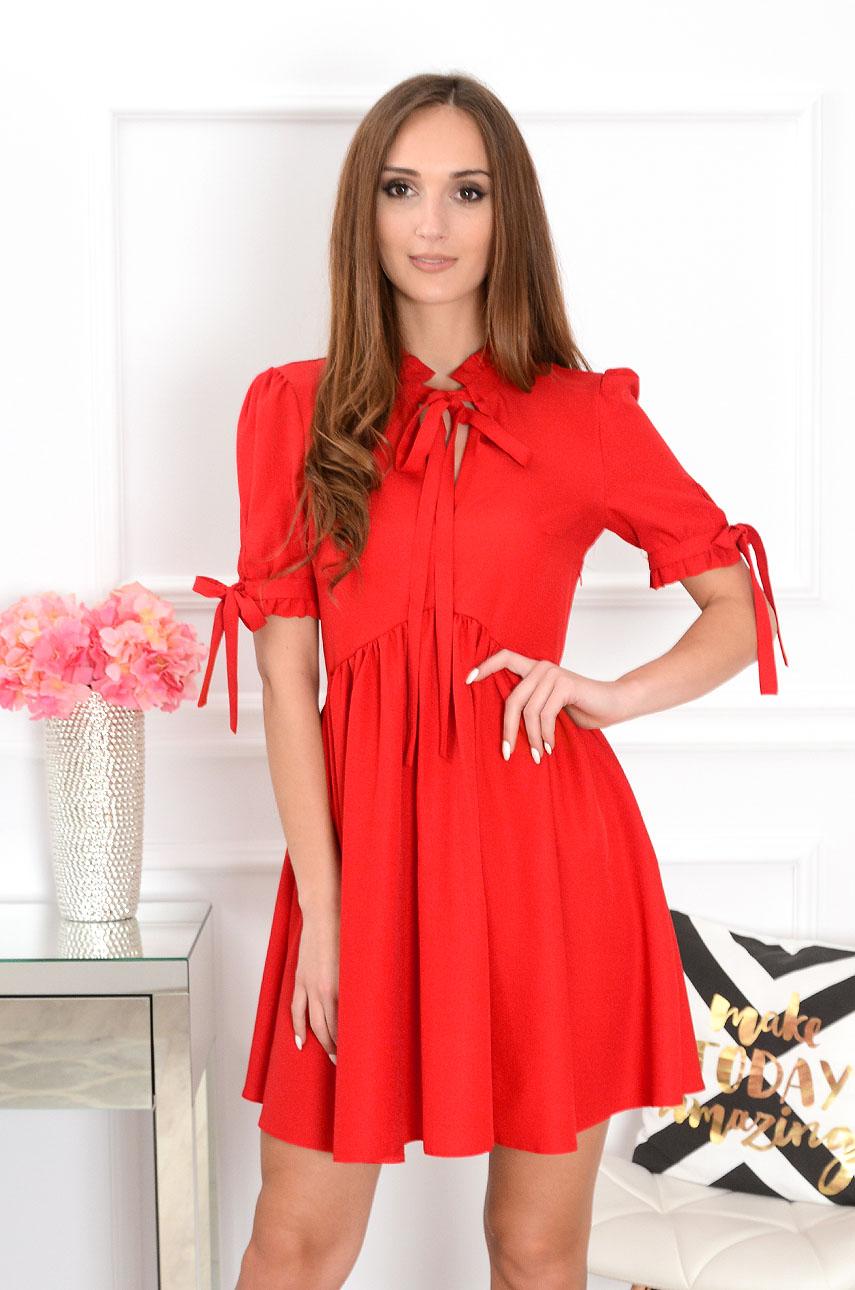 Sukienka Marsha krótki rękaw czerwona Rozmiar: L