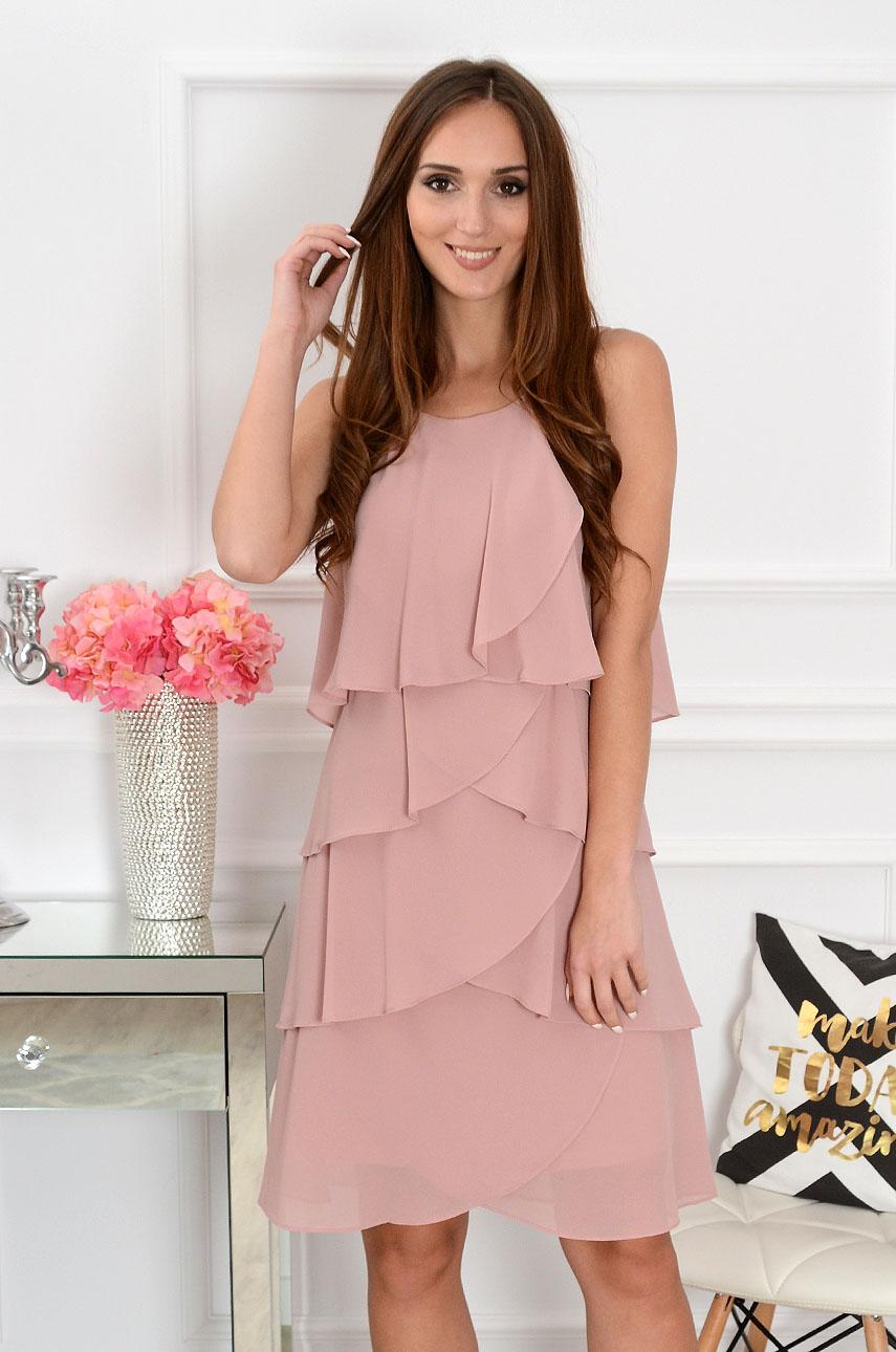 Sukienka z szyfonowych falban brudny róż Rozmiar: 2XL