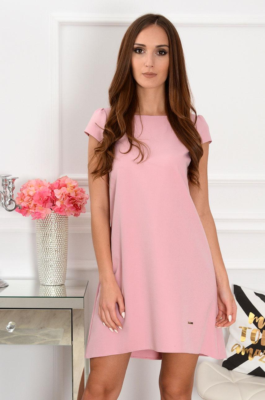 Sukienka z łezką dłuższy tył brudny róż Rozmiar: XL