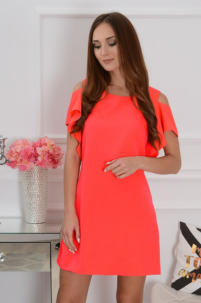 Sukienka Adria gołe ramiona neon koral Rozmiar: S