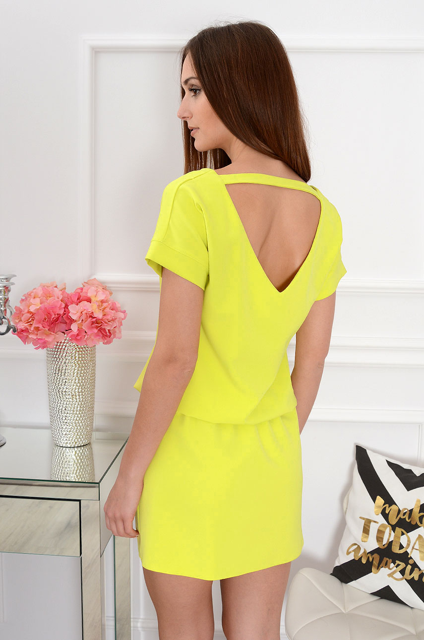 Sukienka dekolt na plecach limonka Lora Rozmiar: S