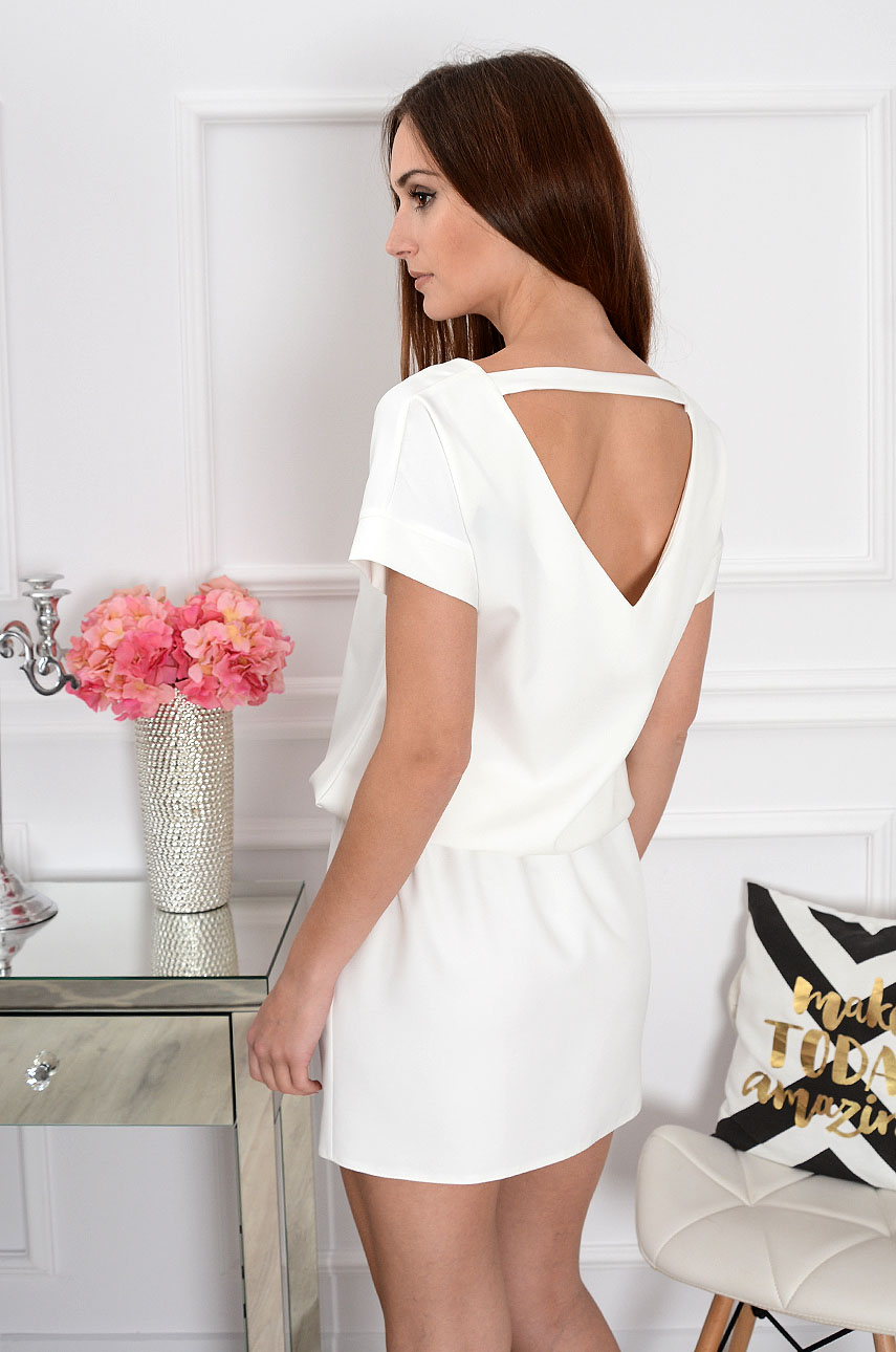 Sukienka dekolt na plecach kremowa Lora Rozmiar: M