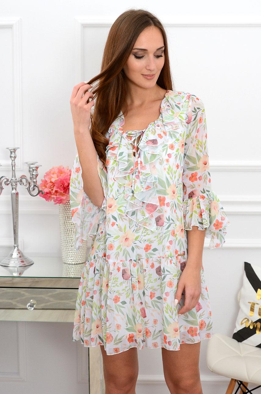 abad20cb05 Sukienka szyfonowa w liście i kwiaty Sklep internetowy cocomo...