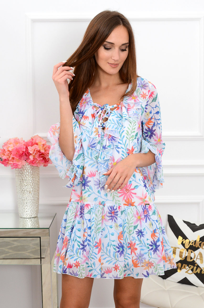 52205900f0 Sukienka szyfonowa w kolorowe kwiaty Sklep internetowy cocomo...