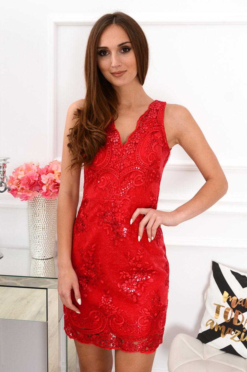 Sukienka z koronki Blanca bez rękawów czerwona Rozmiar: S