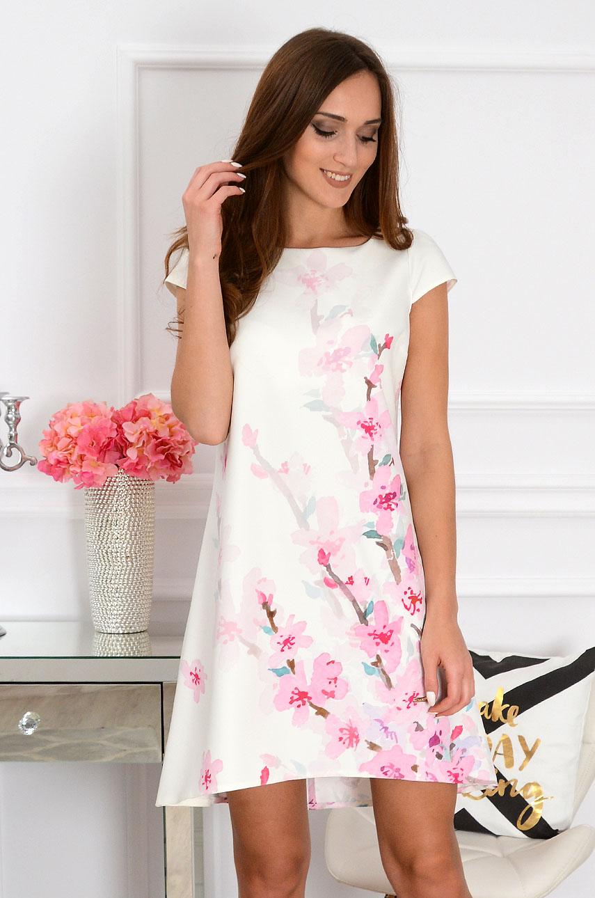Sukienka z łezką dłuższy tył w różowe gałązki Rozmiar: L