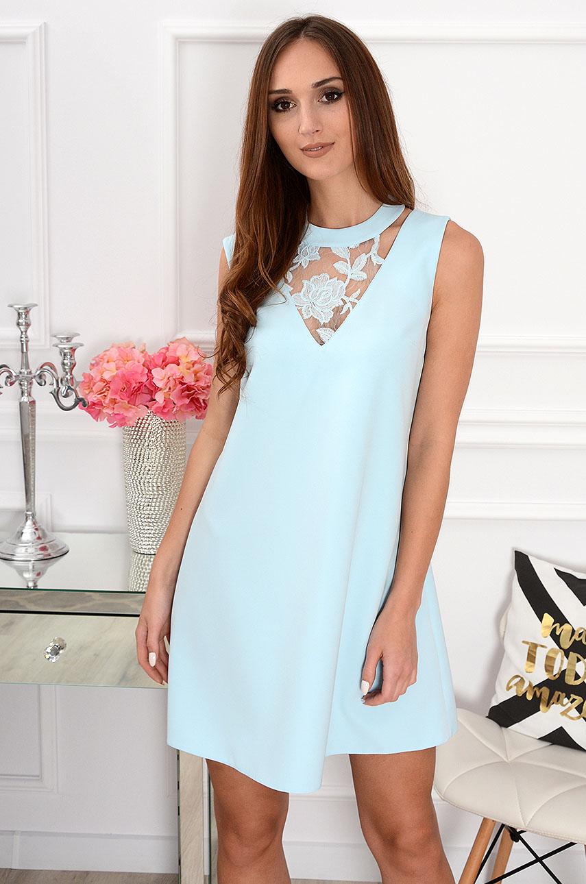 d36155a745 Sukienka o kroju trapezowym z koronką błękitna Sklep cocomoda...
