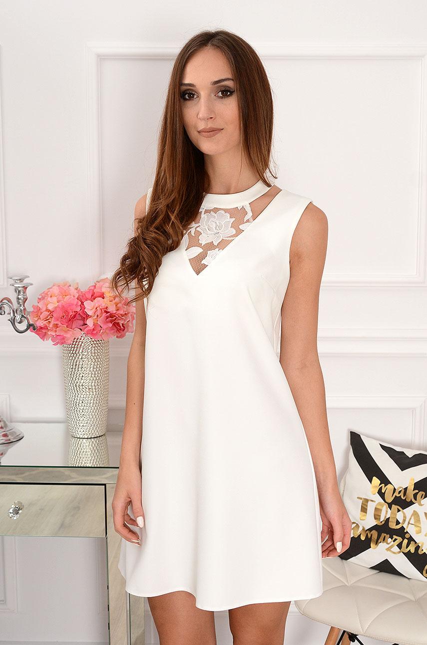 e3a804b897 Sukienka trapezowa z koronką biała Sklep internetowy cocomoda...