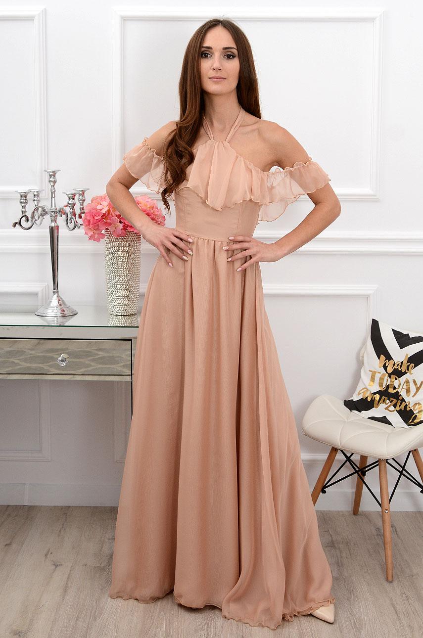 Sukienka maxi wiązana na szyi beżowa Cannes Rozmiar: XS