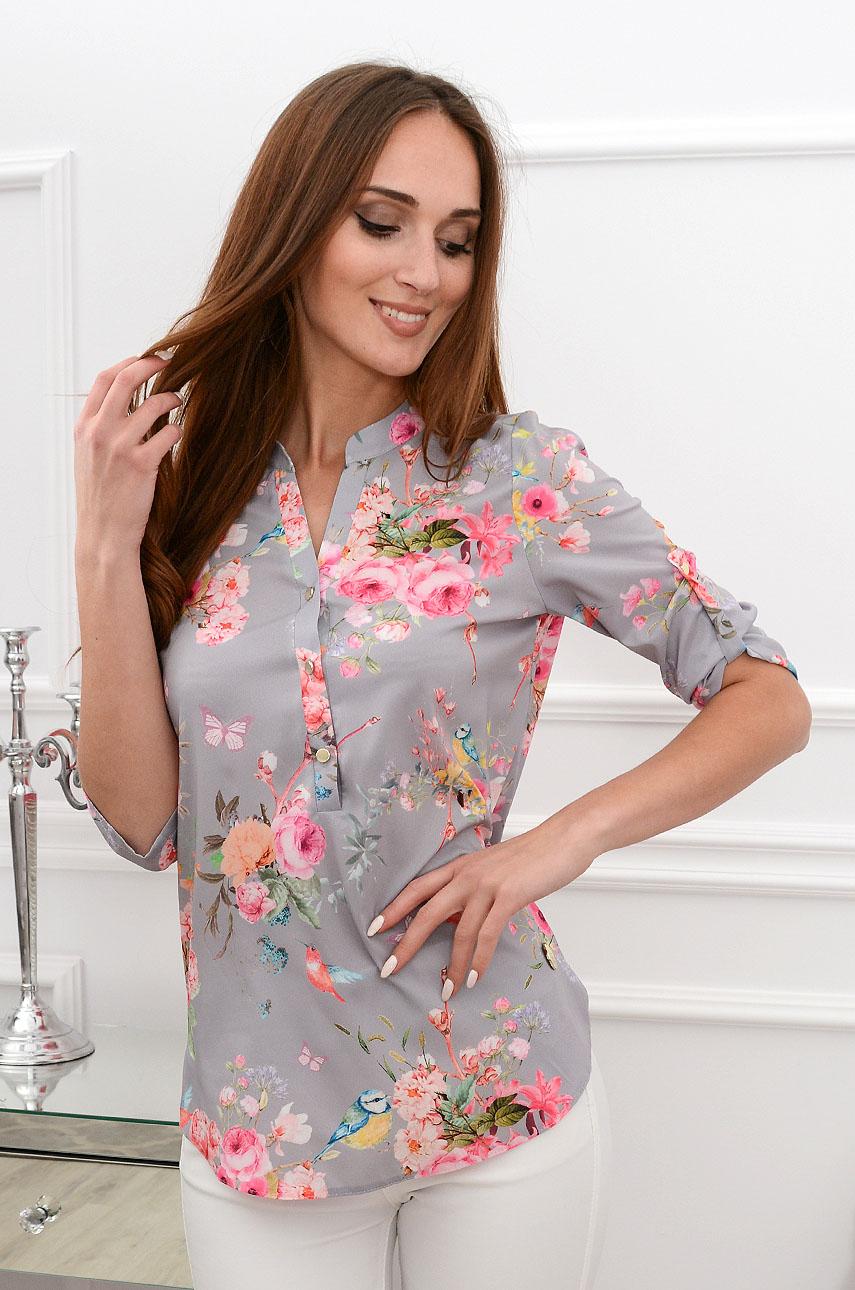 Bluzka koszulowa w kwiaty