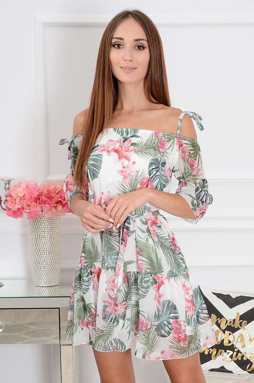 f2347b6b90 Sukienka hiszpanka Malorca w liście i kwiaty różowe - Cocomod...