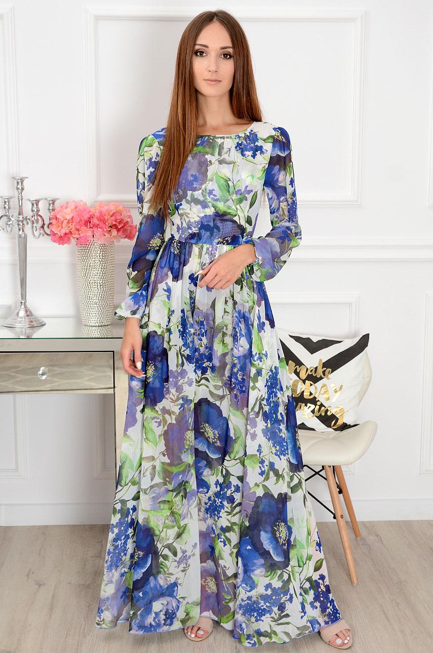 Sukienka maxi w chabrowe kwiaty Alisson Rozmiar: S