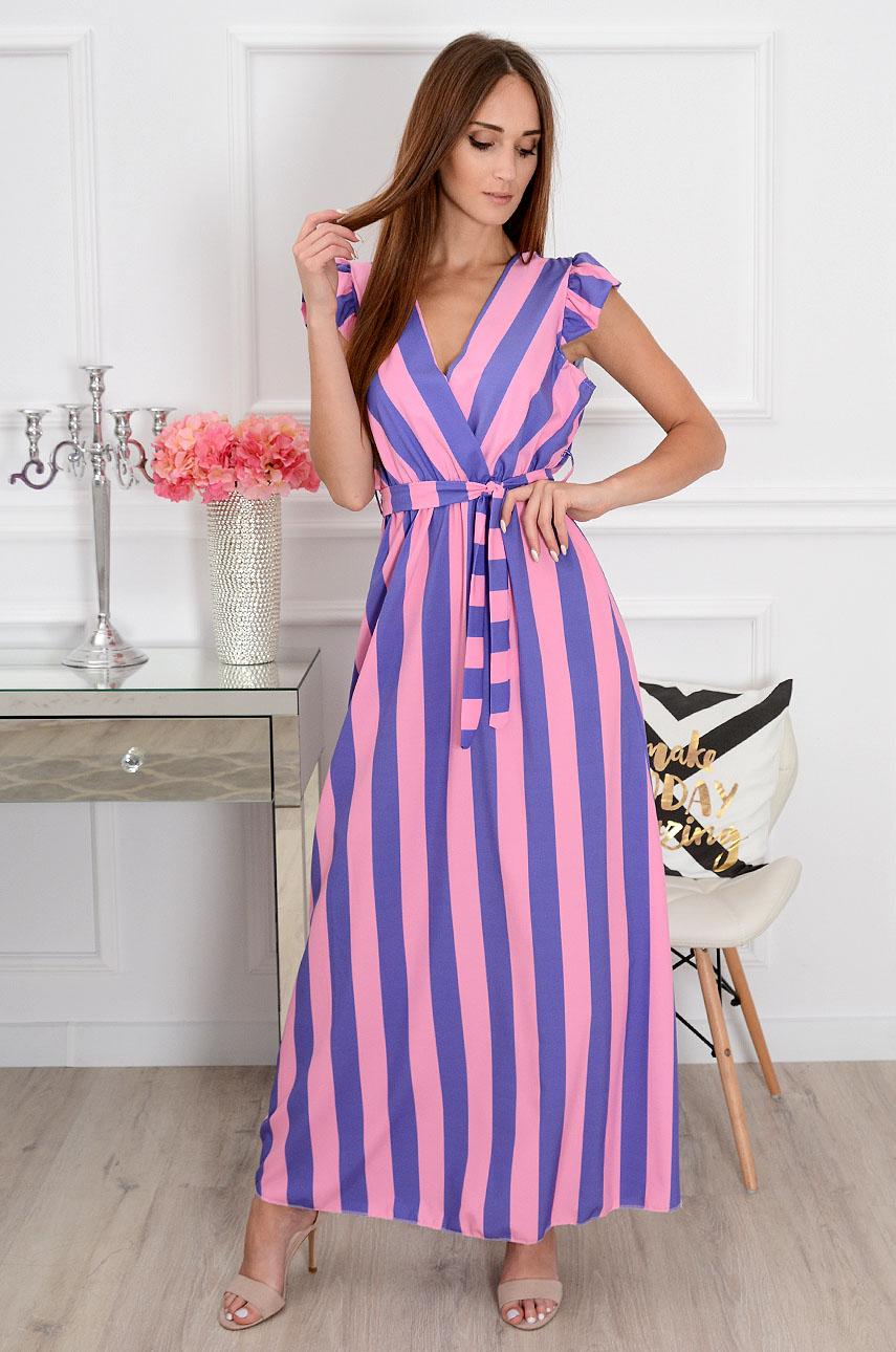 7fa90e0a23 Sukienka maxi w pasy Safira różowo-fioletowa - Cocomoda.pl -...