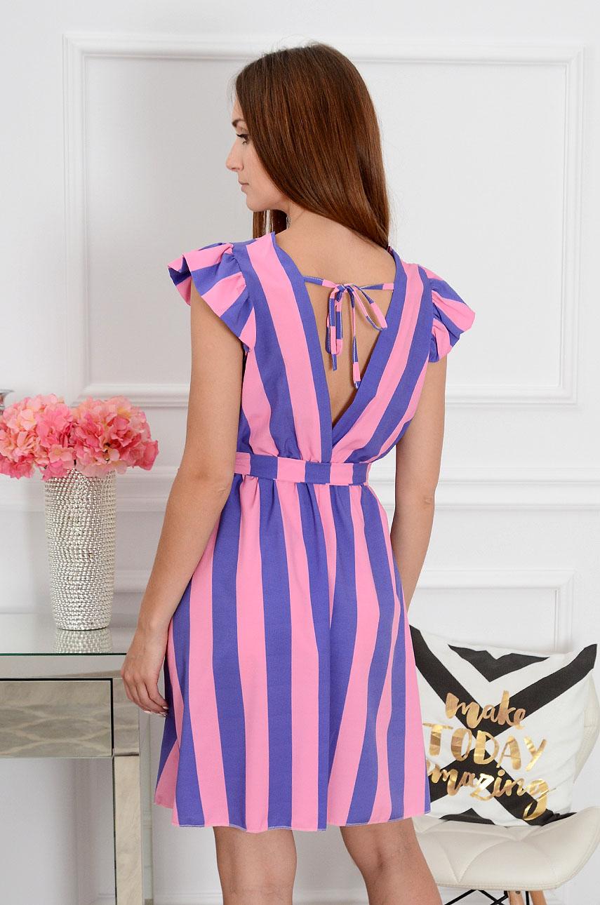 3dac77b18d Sukienka mini w pasy różowo-fioletowa Sklep internetowy cocom...