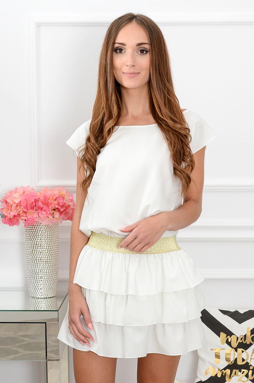 fd0084e2d0 Sukienka z falbankami kremowa Ragazza Sklep internetowy cocom...