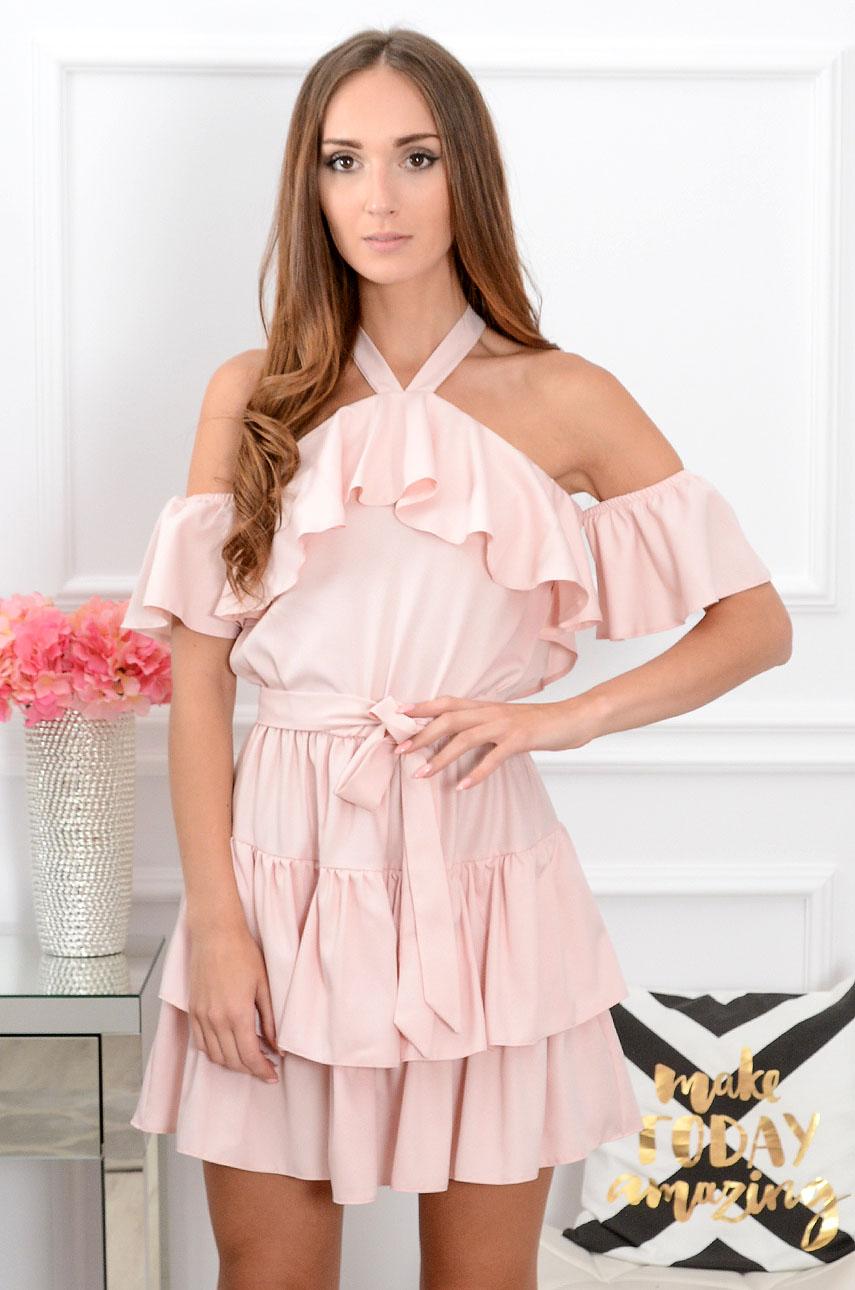 243dd97ea1 Sukienka hiszpanka wiązana na szyi Iga pudrowy róż Sklep coco...