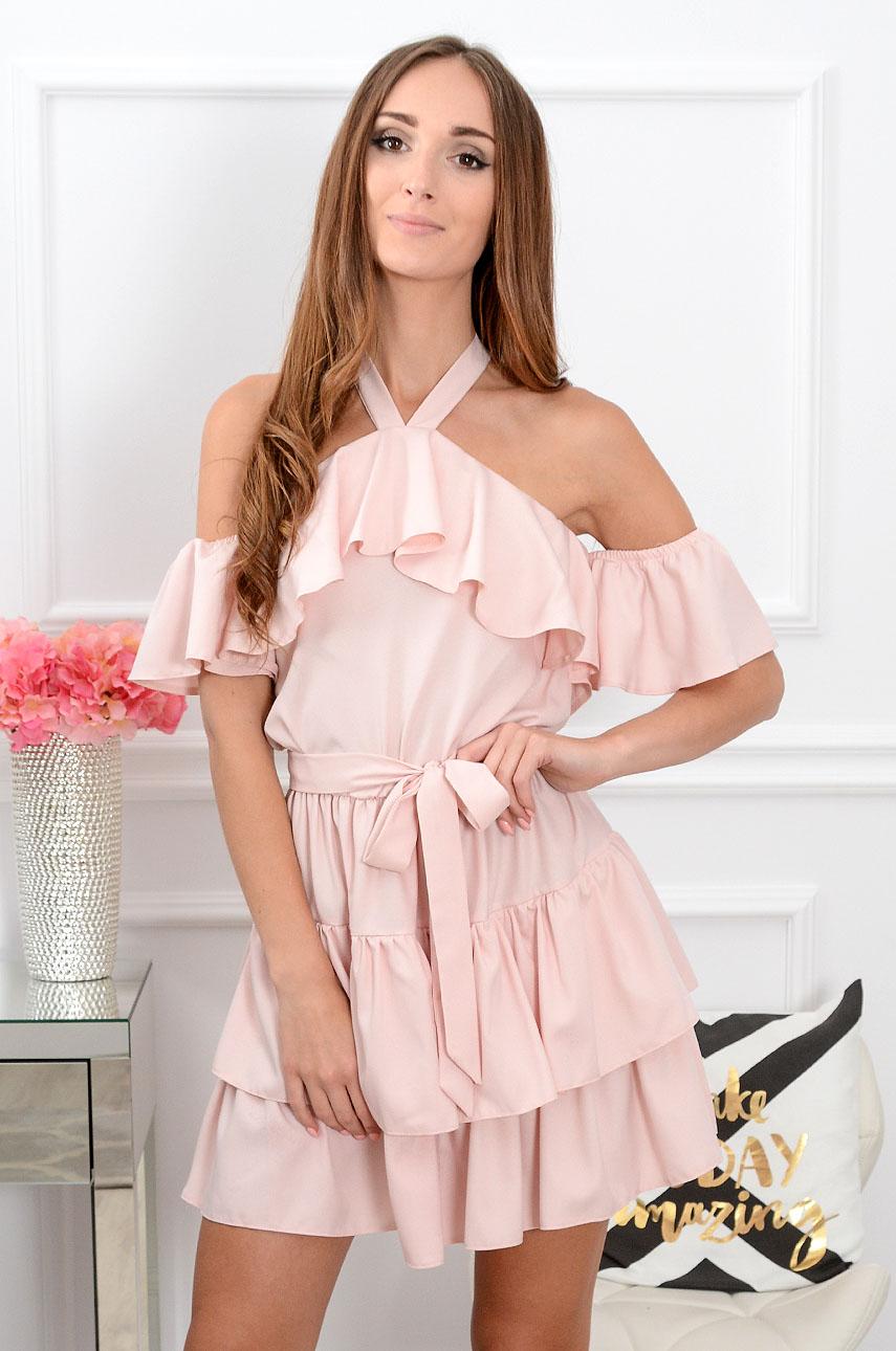 40a45f24e8f1 Sukienka hiszpanka wiązana na szyi Iga pudrowy róż Sklep coco...