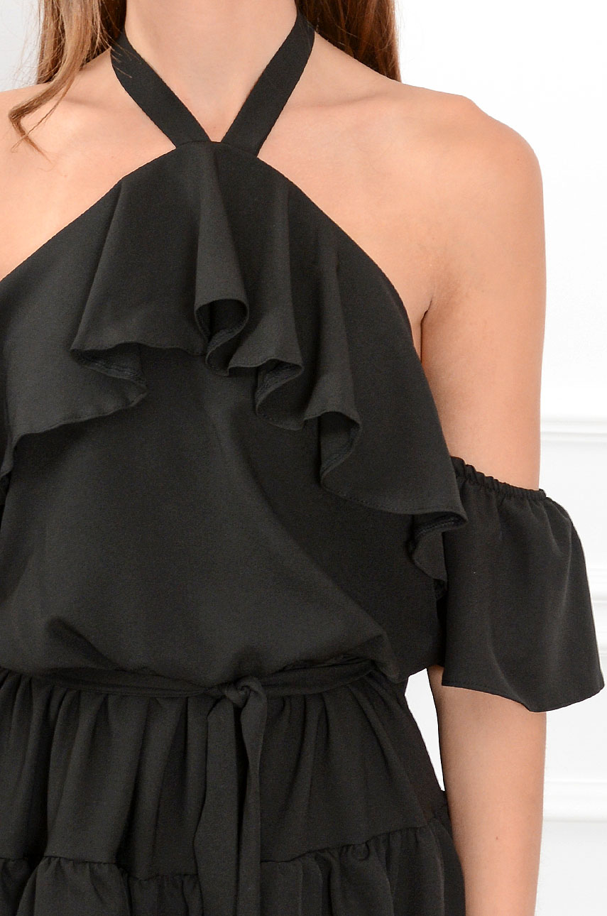 7428e35761 Sukienka hiszpanka wiązana na szyi Iga czarna - Cocomoda.pl -...