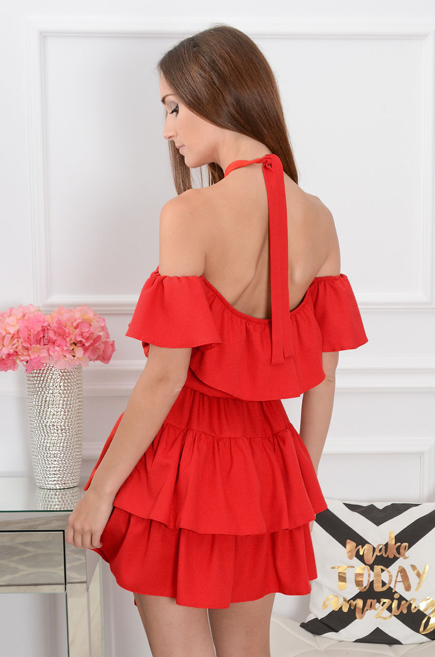 20e446aa2f Sukienka hiszpanka wiązana na szyi czerwona Iga Sklep cocomod...