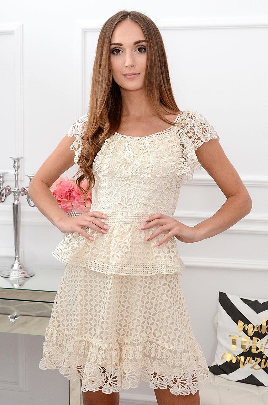 Sukienka koronkowa z falbanami jasny beż Aleksa Rozmiar: M