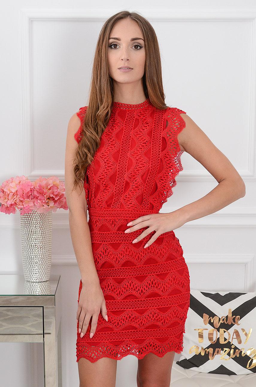 Sukienka koronkowa tuba czerwona Kendal Rozmiar: M