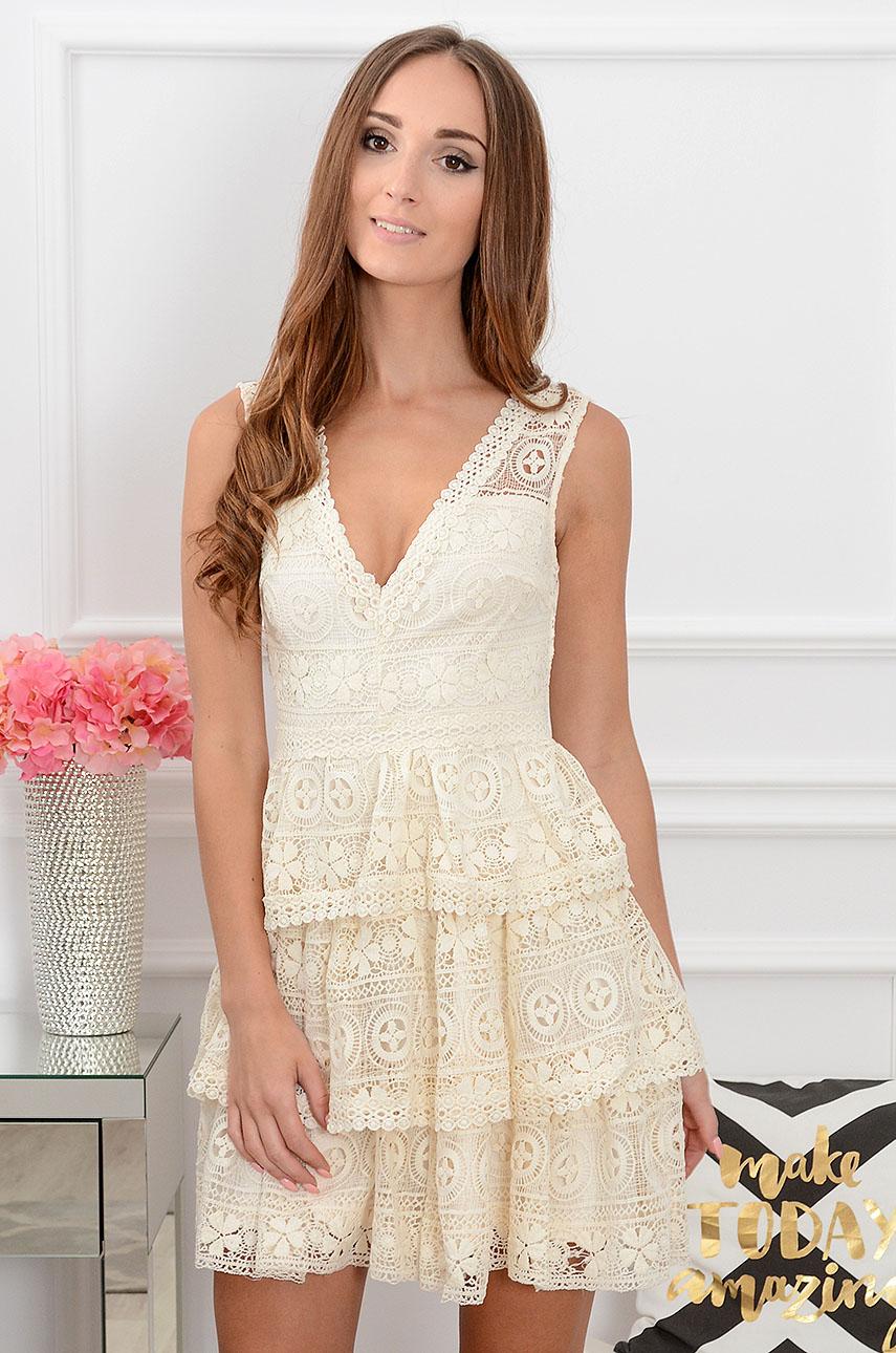 Sukienka koronkowa z falbanami jasny beż Marissa Rozmiar: S