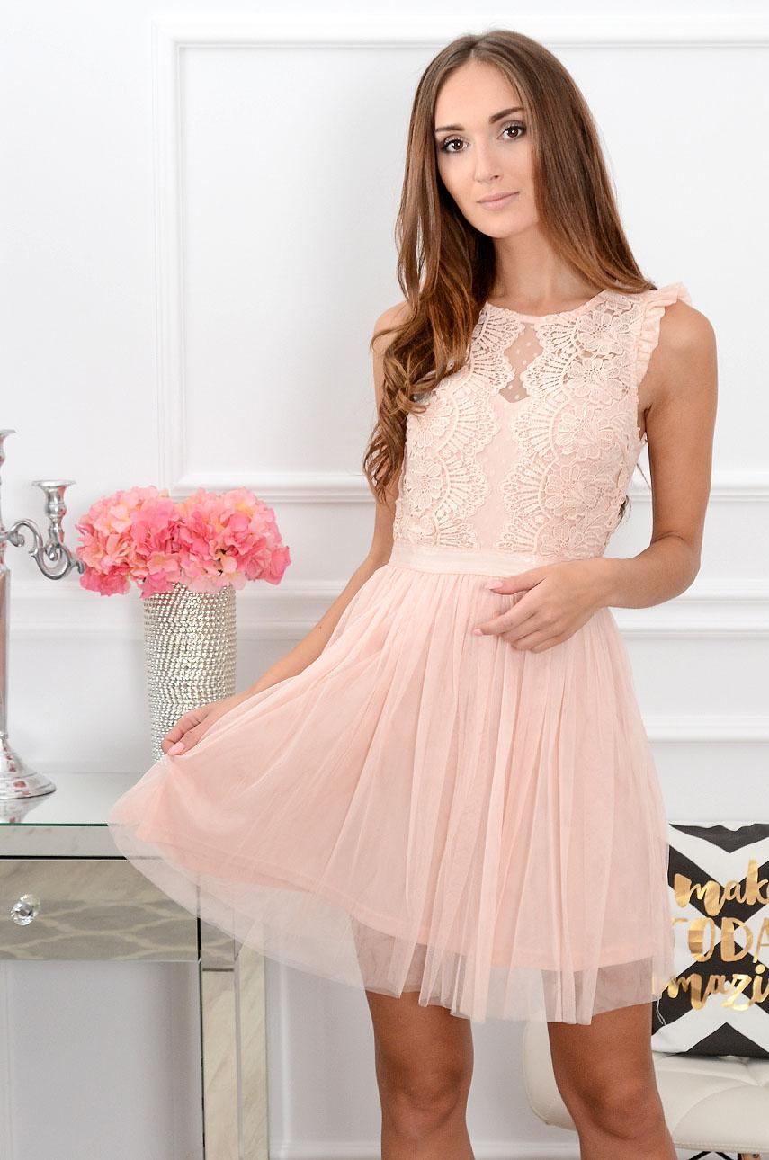 5b1f20d4e9 Sukienka z koronki i tiulu pudrowy róż Sklep internetowy coco...